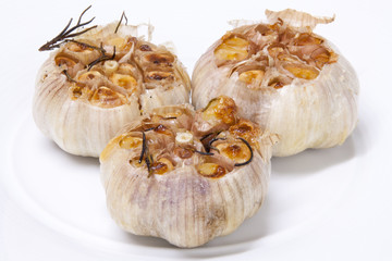 Fresh garlic with rosemary grilled