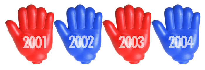 Red Toy Hands with Years