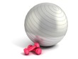 fitness ball and weights isolated