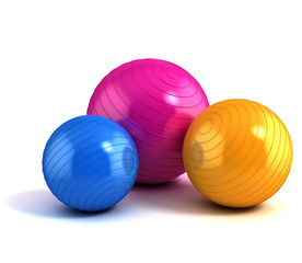 colorful fitness balls isolated on white