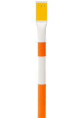 small white yellow and orange plastic reflective alert stud or p