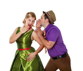 young dancing couple in bright colour wear