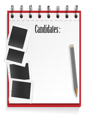Candidate list and photo cards