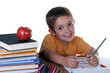 child studying at his desk