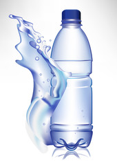 plastic water bottle in fresh water wave