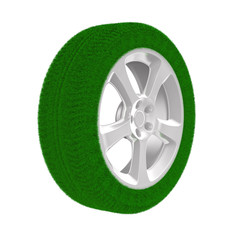 disk wheel from grass. Isolated 3D image