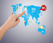 hand pressing social media button on digital map