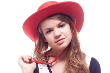 Portrait of a girl in a red hat