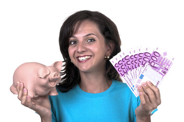 woman with piggy bank and 500 euro