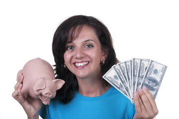 woman with piggy bank and 100 dollars