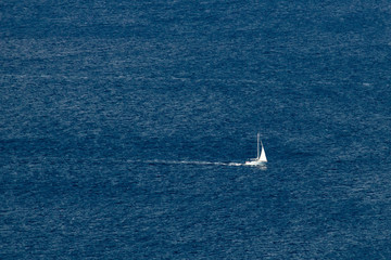 Sailboat on open sea