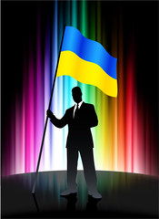 Ukraine Flag with Businessman on Abstract Spectrum Background