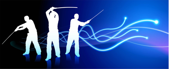 Karate Sensei with Sword on Light Wave Background