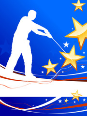 Karate Sensei with Sword on Abstract USA Flag Background
