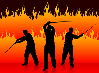 Karate Sensei with Sword on Fire Background