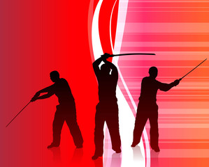 Karate Sensei with Sword on Abstract Internet Background