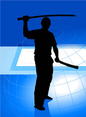 Karate Sensei with Sword on Blue Business Background