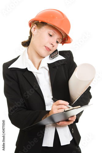 Businesswoman in a helmet on a white background.