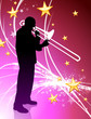 Trumpet Musician on Abstract Light Background with Stars