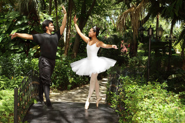 Ballerinas dancing in a garden