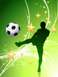 Soccer Player on Green Abstract Light Background