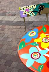 Table, chaise, mobilier, jardin, décoration, peinture