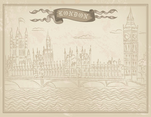 vector London old style hand drawn  postcard