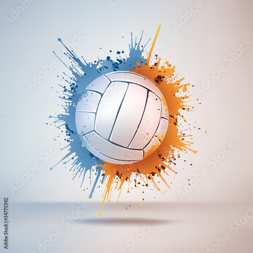 Poster Volleyball Ball in Paint on Vignette Background. Vector.