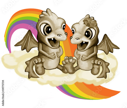 Foto op Plexiglas Draken Влюбленные драконы на облаке