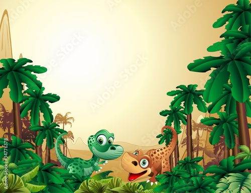 Tuinposter Zoo Dinosauri Cuccioli Sfondo-Baby Dinosaur Tropical Background