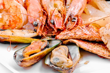 Mussels, shrimps and crabs a grill