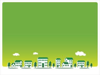 緑の背景の街並み