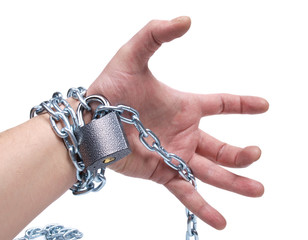 Chain on human hand