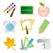 set of 9 colorful school icons