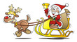 Santa with Reindeer, Sledge and Bell