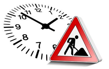 Baustellenschild Uhr