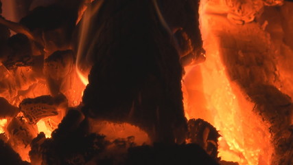 HD close-up background of burning fire wood.