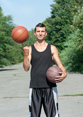 Young basketball player with ball