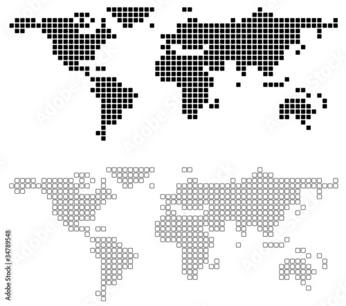 Poster Wereldkaart Abstract World Map - background illustration