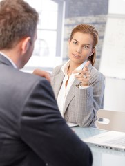 Female hr manager interviewing male applicant