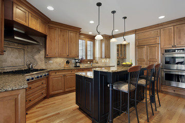 Luxury kitchen with granite island