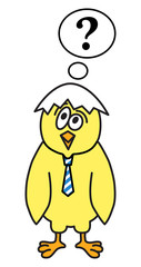 Little chicken thinks with bubble overhead. Vector illustration.