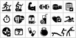 Vector bodybuilding icons set.