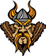 Viking Mascot Cartoon with Horned Helmet