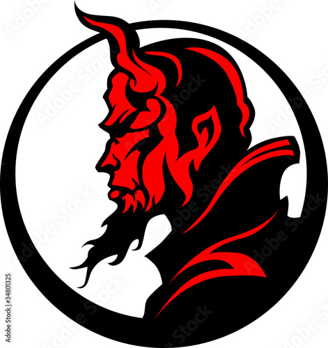 Devil Demon Mascot Head Illustration