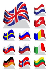Vector illustration of National bending flag