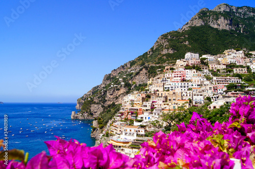 Panoramic view of Positano on the Amalfi Coast of Italy