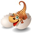 Dinosauro Neonato in Uovo-Baby Dinosaur on his Egg-Vector