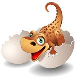 Fototapety Dinosauro Neonato in Uovo-Baby Dinosaur on his Egg-Vector