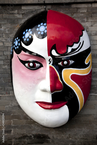 decorative theater mask at wall